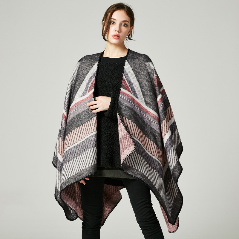 New lady Autumn and winter large cape thick warm cashmere cloak  border Jacquard fork shawl