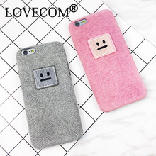 DIY Fashion Warm Fuzzy Case For iphone 7 Case For iphone 7 6 6S Plus Soft TPU Phone Cases Cute Square Face Back Cover Coque