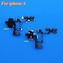 ChengHaoRan 1PCS White/Black Headphone Audio Jack Volume Flex Cable Replacement Parts For iPhone 4 4G(China)