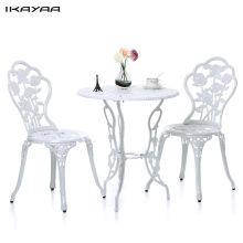 iKayaa US Stock Outdoor Patio Garden Bistro Set Furniture 3PCS Rose Design Iron Aluminum Porch Balcony Cafe Table Chairs Set