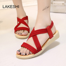 LAKESHI Fashion Summer Women Sandals Shoes Flat Cross-Tied Women Shoes Solid Color Simple Ladies Shoes 5 Color