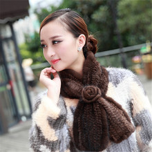 2015 Real Genuine Knitted Mink Fur Scarf Shawl with Tassel Muffler Women Winter Neck Collar Stole