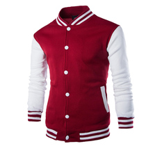 New Men/Boy Baseball Jacket Men 2017 Fashion Design Wine Red Mens Slim Fit College Varsity Jacket Men Brand Stylish Veste Homme(China)