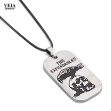The Expandables tag necklace 2016 High Quality New Arrival silver black Eagle skull Metal Movement Pendant necklace
