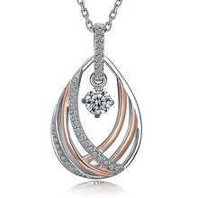 Elegant Pendant Necklace Beautiful Design Rhodium and Rose Gold Color Contrast Clean Metal White Zircon Best Buy Collier femme(China)