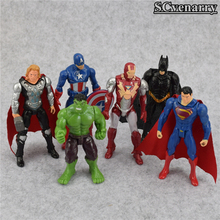 New 6Pcs/lot The Avengers Superheroes Figures Thor Captain America Batman Superman Hulk Iron Man PVC Figure Toy Dolls