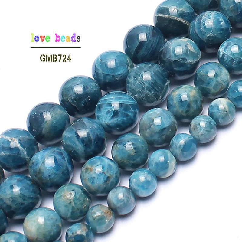 "4MM Blue Turkey Turquoise Gem Round Loose Bead 15""AA"