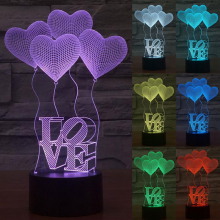 3D Visual Bulb Optical Illusion Colorful Led Table Lamp Romantic Holiday Night Light Bay Max Love Heart Wedding Gifts ZH01673
