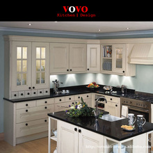 White wood kitchen cabinet with black quartz counter(China)