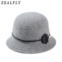 Vintage Stylish Fall Winter Fedoras Hat For Women Flowers Top Hat For Lady Girls Floppy Cartola Female Felt Bowler Cap(China)