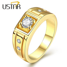 USTAR Yellow gold color MEN Rings Jewelry stainless steel zirconia crystals finger wedding rings male anel bijoux s top quality