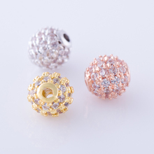 5MM Jewelry Accessories Round Small Jewelry Beads Micro Pave Zircon Spacer Beads Fit DIY Bracelets Three Colors For Choose
