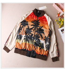 AKJ002 women Coconut palm printing baseball jackets/women print Bomber Jackets/embroidery baseball jackets
