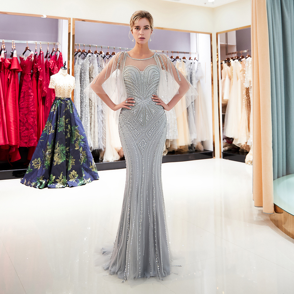 Gray evening dress Crystal Sequins Beaded Long Mermaid Evening Gown Scoop Neckline Long dress(China)
