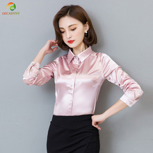 2017 New Peacock Blue Satin Shirt Women Long Sleeve Silk Blouses Women Work Wear Uniform Office Shirt Simple Blouse Tops S-3XL(China)