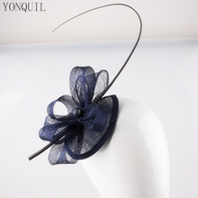 Sinamay fascinator hats base party hairclips with ostrich quill strip for women wedding hats cocktail headwear hair accessories
