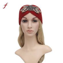Women Knitting Headband Handmade Keep Warm Hairband accessories headband cute crystal rhinestone ears warm stretch knit WRAP(China)