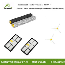 1 set Tangle-Free Debris Extractor &2 Hepa Filters & 2 Side Brush Replenishment kit for iRobot Roomba 800 900 series 870 880 980