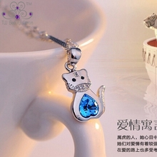 925 Pure Silver Fashion Tiger King Ocean Blue Heart Crystal Pendant Necklaces For Women Girls Children Jewelry Antiallergic