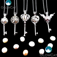 Mix Keys Star Tree Angel Wings Crown Natural Pearl Cage Perfume Aromatherapy Stone Rock Beads Locket Necklace Pendant 21759