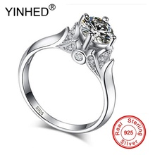 YINHED Original Solid 925 Silver Rings Swan Ring 1ct CZ Zircon Fashion Wedding Engagement Classic Jewelry Gift For Women ZR015(China)