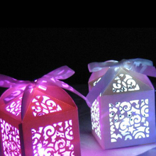 10pcs Kraft DIY  Love Heart Laser Paper Candy Box Chocolate Bags Gifts bag Waterproof Mini Led Party LightsWedding Party Favors