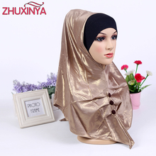 2017 new muslim head coverings 2 piece suit long islamic clothing for women muslim scarves hijabs women's fashion hats 12 colors