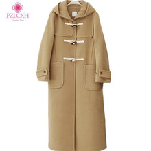 PZLCXH 2017 Winter New Women's Wool Coat Hooded Long Fashion Coat Loose Fashion Solid Color Coat Black Camel Jacket ZL0927(China)
