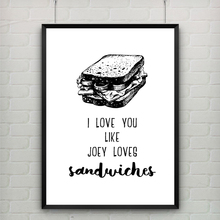 Romantic Quote Wall Art Canvas Painting I Love You like Joey Loves Sandwiches Black and White Kids Pictures Home Decor Unframed