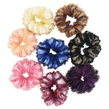 Furling 6 PCS/Lot Silk Yarn with Crystal beads Hair Scrunchies Elastic Hair Bands Ponytail Holder Free Shipping