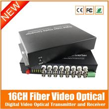 2016 16ch Fiber Video Converter+1ch Reverse Rs485 Data Digital Optical Transmitter And Receiver For Cctv Surveillance System