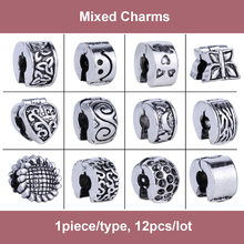 12pcs Mix Style Flowers Heart Stoppers Clip Locks Charms Silver European Alloy Beads Fit Pandora Bracelet DIY Women Jewelry
