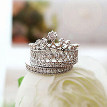 Lowest Price Women's Crown Statement Ring 2 Band Stack Rhinestone Alloy Jewelry Gift Golden  96CJ