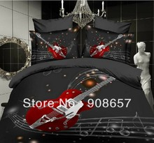 Black bed sheets 3D oil painting music duvet quilt cover guitar rock design bedding set full queen size 4/5 pc