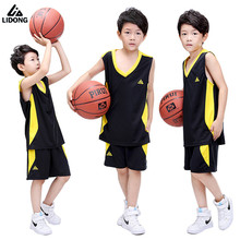 Lidong New Kids Boys Girls basketball jerseys clothes sets jersey shirts short basketball clothing Training Suits DIY Number(China)
