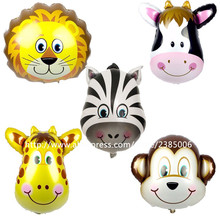 10pcs/lot 53*56cm Mix Monkey Lion Zebra Deer Cow Head Helium Foil Balloons Birthday Party Animal Air Balloons Animal Theme Party