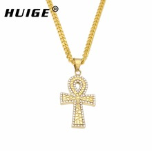 Gold Color Egyptian Ankh Pendant Necklace Stainless Steel Key of Life Iced Out Crystal Cross Charm Pendant With Free Cuban Chain(China)