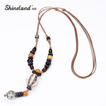 Shineland Boho Ethnic Jewelry Women's Long Hand Made Ceramic Beads Wood Pendant Sweater Chain All-match Decorative Maxi Necklace(China)