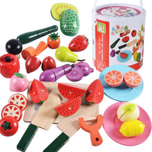 New Arrive Baby Toys 22Pcs Large Magnetic Fruit/Vegetable Food Cut Set Wooden Toys Bottle Packing Kitchen Toy Child Bithday Gift(China)