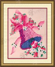Needlework,DIY Ribbon Cross stitch Sets for Embroidery kit, Romance Christmas Bell flowers Cross-Stitch handwork wedding gift
