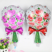 2pcs/lot  25 Inches New Pink Rose Flowered Shaped Foil Balloons Wedding Party Decorations Wedding Decor Cheap Balloons