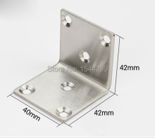 One Pair 40*40*42mm Brushed Stainless Steel Corner Brackets Furniture Parts Metal Connector Thickness 2 mm Angle Bracket +screws