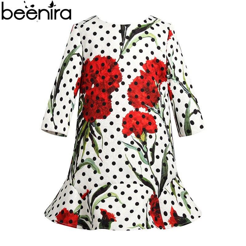 BEENIRA 2017 High Quality Sring and Autumn girls clothing kids dot print Lotus leaf Hem dresses<br>