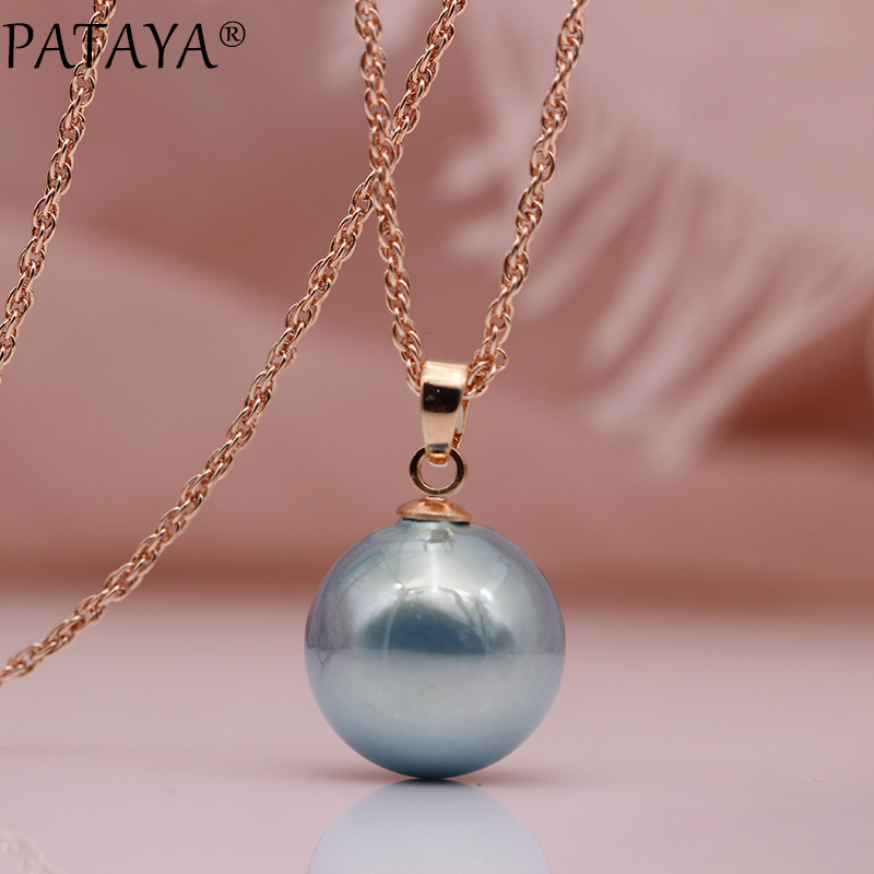 18K Rose Gold Filled Women/'s 12MM Round Ball Beads pendant Charm Necklace Gift