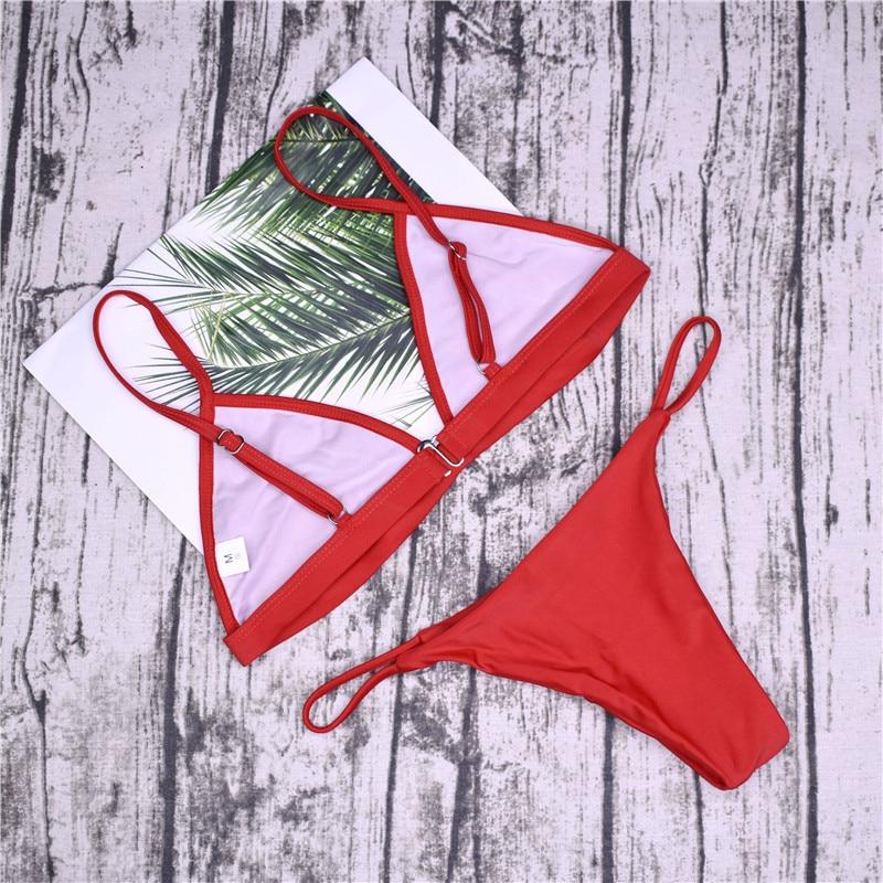 19 Sexy Bikini Set Brazilian Cut Swimsuit Women Swimwear Halter Biquinis Retro Style Cheeky Simple Thong Bikinis Hot maillot 16