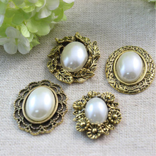 PPCrafts vintage oval faceplate diamond clasp pearl faceplate DIY Hair Furniture clothing Accessories(China)