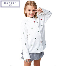 HAYDEN Girls White Shirts Kids School Blouses Teens Long Sleeve Turn Down Collar Shirt Top Teenage Girls Embroidered Shirts