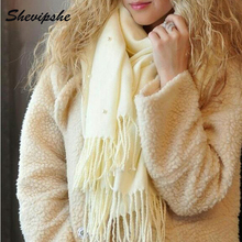 Shevipshe Pearl Blanket Scarf Cashmere Pashmina Winter ladies Scarves Long Tassel Knitted Fur Scarf Wrap Bandana Echarpe Chaude(China)