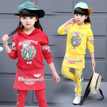 Children's Sports Clothing Suits Child Girls Long-Sleeve Tops + Pants 2 Set Kids Sports Suit Girls Cartoon Pattern Sweatersuit