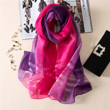 DOWER ME Spain Luxury Brand Ombre Tie Dye Silk Scarf Shawl High Quality Stripe Wool Pashmina Scarves Echarpe Foulard Hijab Sjaal